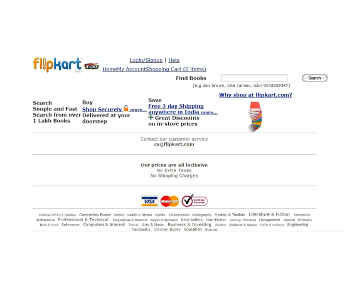 Flipkart website circa 2008 first customer