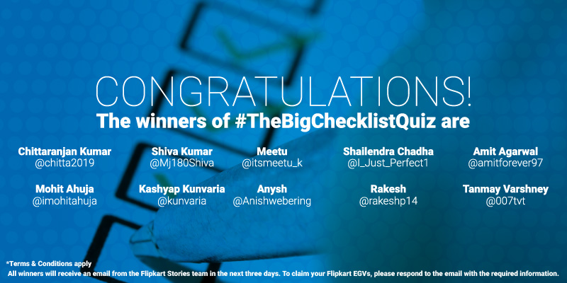 Play The Big Checklist Quiz and win Flipkart gift vouchers