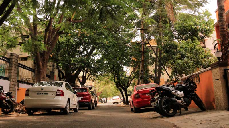 The road to 447-C, in the quiet residential neighborhood of Koramangala