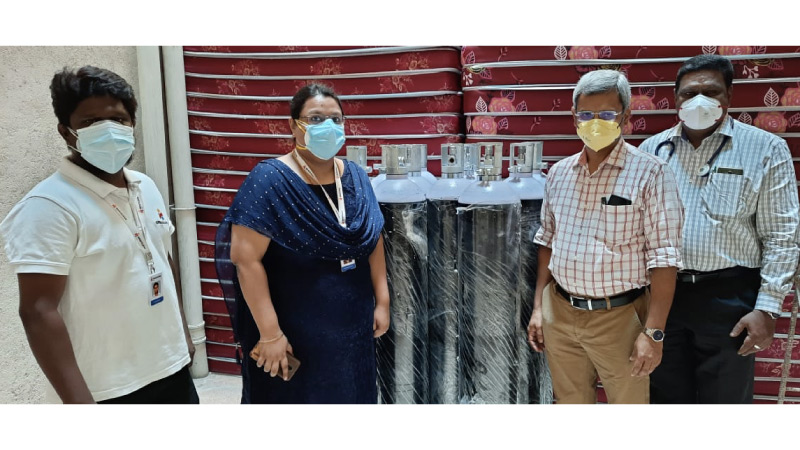 COVID-19 Relief - Donation of Oxygen cylinders at Government Rajaji Hospital, Madurai